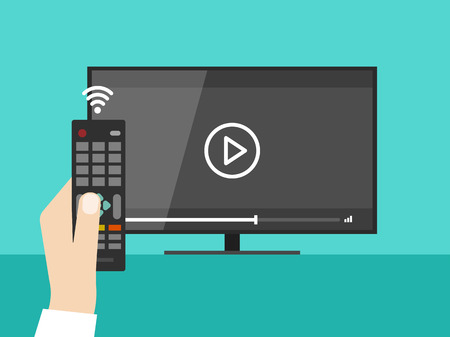 screen tv: Hand holding wireless remote control near flat screen tv watching video film, cartoon person watching movie on television display