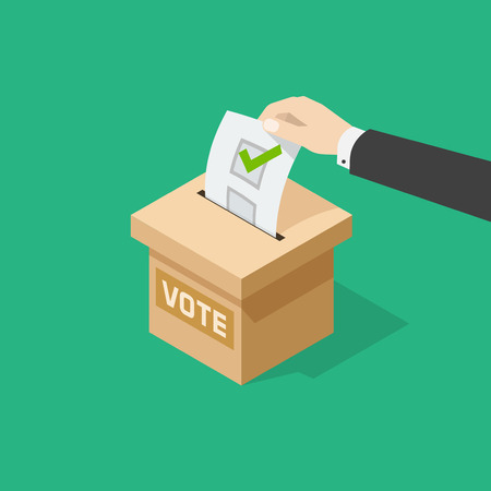 voting: Voting vector illustration, man hand holding political ballot putting in ballot box, concept of election choice or vote, poll