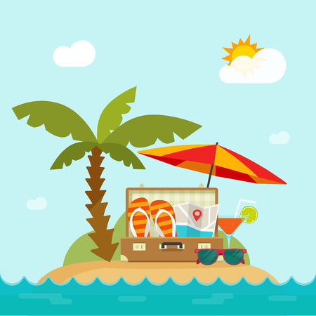 Summertime trip vector illustration, flat cartoon resort island, sea landscape, beach, concept of happy summer holiday banner design, traveling season,