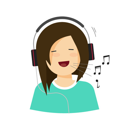 Happy girl with headphones singing isolated vector illustration, smiling joyful young woman in headset sing a song with melody sound notes, cheerful character flat cartoon style