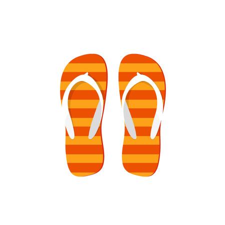 flipflops: Orange flip-flops vector illustration isolated on white background, flat cartoon striped flipflops