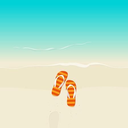 flipflop: Flip flops on beach vector illustration, flat cartoon flipflop on sand near sea with footprint top view Illustration