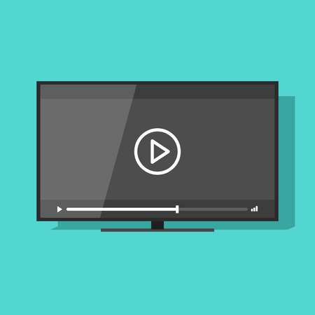 screen tv: Flat screen tv with video player button vector illustration, concept of movie watching, television online cinema, theater, digital entertainment, video streaming technology Illustration