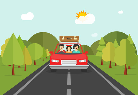 family trip: Happy family trip by car vector illustration, flat cartoon smiling family characters in auto travelling on road across forest and hills, concept of road journey together