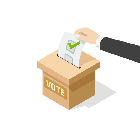 designate: Voting vector illustration isolated on white background, man hand holding political ballot putting in vote box, concept of election choice or vote, poll