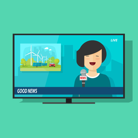 anchorman: Good TV news vector illustration, flat cartoon television news studio with happy smiling woman reporter broadcasting good news