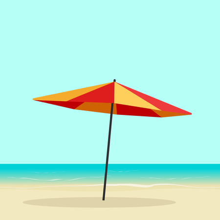 Beach umbrella on seaside vector illustration, flat cartoon sea coast with sun umbrella on sand beach, colorful orange parasol on seascape horizon Illustration