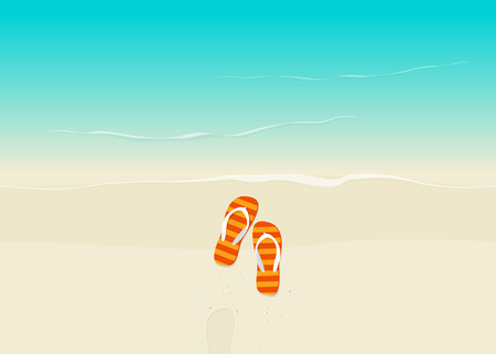 view on sea: Sand beach with flip flops vector illustration, flat cartoon flipflop on sand near sea with footprint top view, sea coast and sand beach from above Illustration