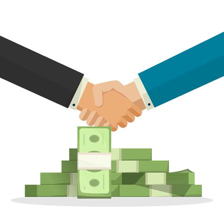 money pile: Handshake near money pile vector illustration, cartoon businessman shaking hands with cash, concept of good business deal, success finance agreement, partnership