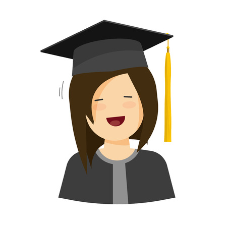graduation gown: Young happy student girl vector illustration isolated on white background, flat cartoon female character in graduation hat and robe smiling, student woman in graduation gown