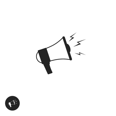 speakerphone: Megaphone vector icon isolated on white background, flat cartoon black and white bullhorn pictogram, speaking trumpet symbol