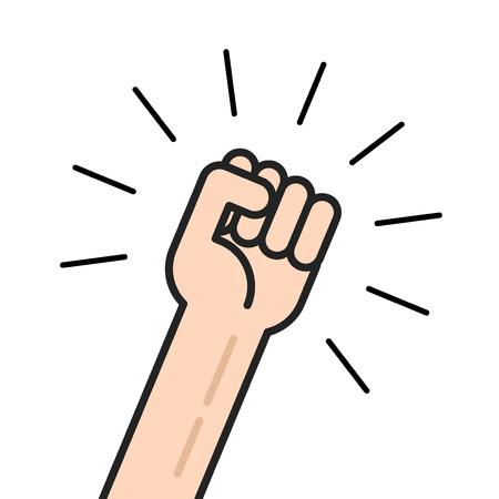 Fist icône vecteur isolé sur fond blanc, la main en agitant le poing levé en place, le concept d'élection, employé motivé, personne criant, la réalisation, le leadership ligne de contour de poinçon