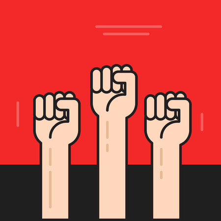 protest poster: Hands with fists raised up vector poster, symbol of protest, revolution, line outline style Illustration