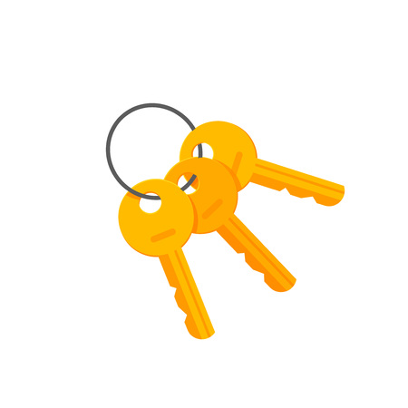 key ring: Door or padlock keys on key ring vector illustration isolated on white background, bunch of golden keys on keyring flat cartoon style