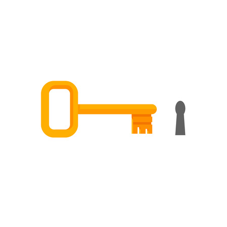 Golden key with keyhole vector illustration isolated on white background,