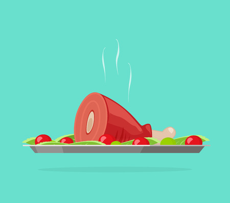 cooked meat: Dinner vector illustration, flat carton silver tray with hot cooked meat, lunch dish, food serve concept