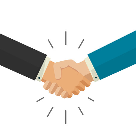 truce: Shaking hands business vector illustration isolated on white background, symbol of success deal, happy partnership, greeting shake, handshaking agreement flat sign design
