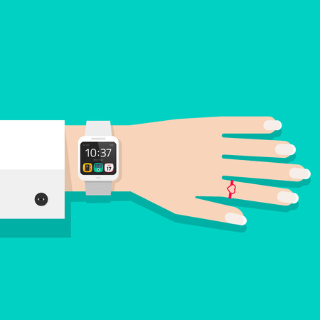 lady clock: Woman hand with smart watch vector illustration, white digital hand clock on business woman wrist, flat cartoon modern smart wristwatch on female hand