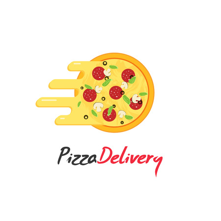 pepperoni pizza: Pizza delivery vector isolated on white background, pizza with flowing cheese, creative brand design Illustration