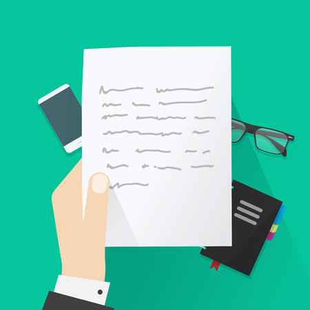 writing letter: Hand holding paper sheet with abstract text under work desk vector illustration, concept of writing letter, writer desk, workspace, paper work, flat cartoon design on green background top view