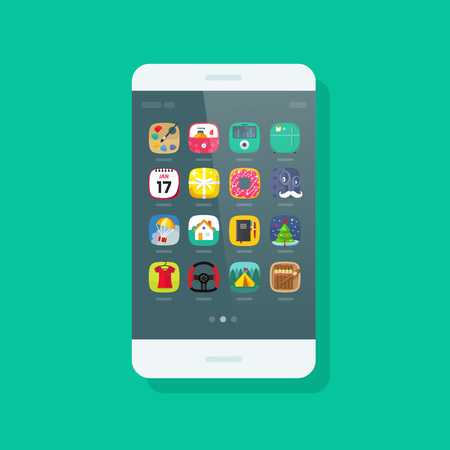 smartphone apps: Smartphone vector isolated on green background, mobile phone with app icon on screen, modern cellular smart phone device flat cartoon style Illustration