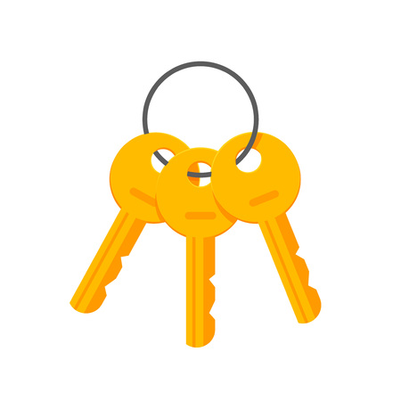 tool unlock: Keys on key ring vector illustration isolated on white background, bunch of golden keys on keyring, key chain icon flat cartoon style