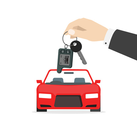 Hand holding car keys near red auto vector illustration isolated on white background, concept of automobile gift, car keys gift, rent a car service, auto dealer, success deal, prize flat cartoon style