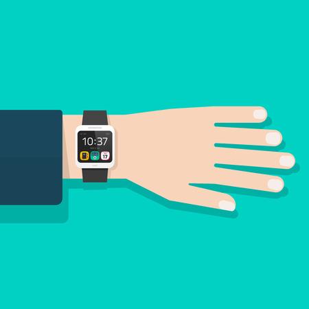 Man hand with smart watch vector illustration isolated, black digital clock on business man wrist, flat cartoon modern smart wristwatch on male hand