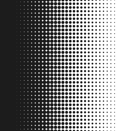 Dotted background vector illustration, white and black halftone gradient, vertical seamless dotted lines, monochrome dots texture backdrop, retro effect Illustration
