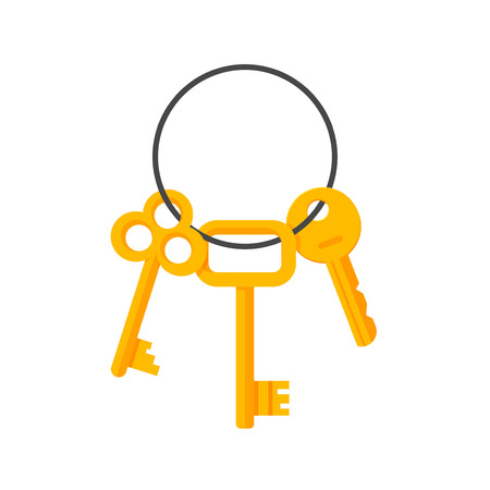 key ring: Keys hanging on key ring illustration isolated on white background, bunch of golden door and lock keys chain flat cartoon style image