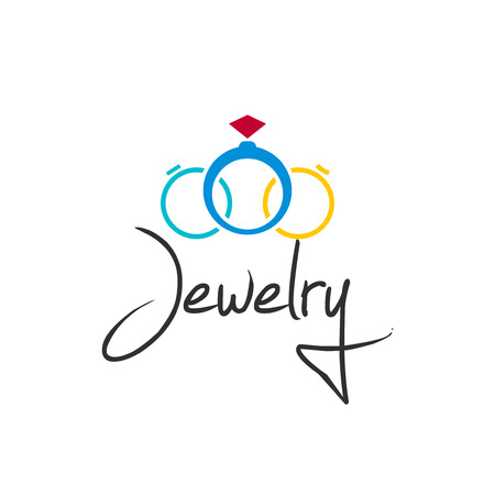jewelry vector: Jewelry vector illustration isolated on white background, creative jewellery rings brand element design Illustration