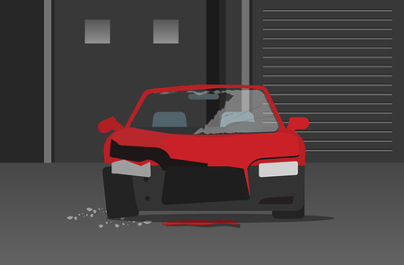 wrecked: Crashed car in dark night street vector illustration, concept of car crime, broken auto with glass fragments, disaster accident, damaged vehicle cartoon flat style