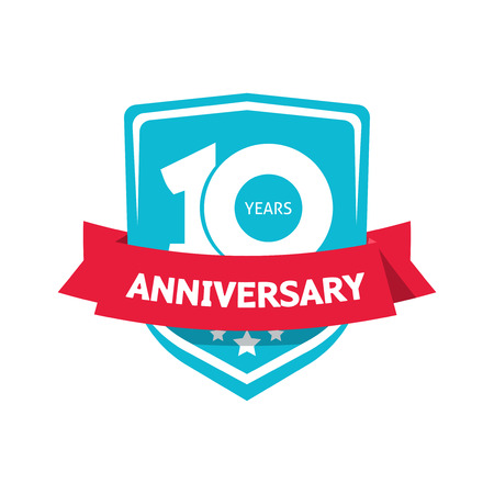 10th: 10 years anniversary sticker vector, blue color 10th anniversary party label with red ribbon, celebrating symbol with number ten isolated on white background