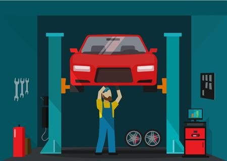 Car garage vector illustration, man mechanic standing and repairing car, technician repairman working on lifted auto, concept of repair service garage flat cartoon style