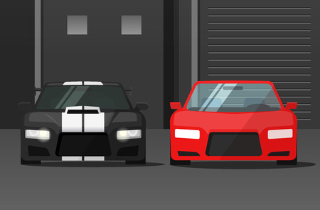 dark street: Cars front view in dark street vector illustration, sport expensive auto parked near garage or station, flat cartoon tuned automobiles