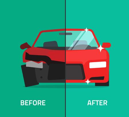 antes y después de coches ilustración vectorial de reparación, se estrelló, coche roto y reparado, mantenimiento de auto o tienda bandera, diseño plano de dibujos animados Ilustración de vector