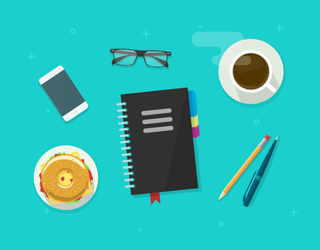 Table top view with business notepad, mobile phone, pen, pencil and food, concept of coffee break time, breakfast, working on organizer notebook, planning management, desktop vector illustration