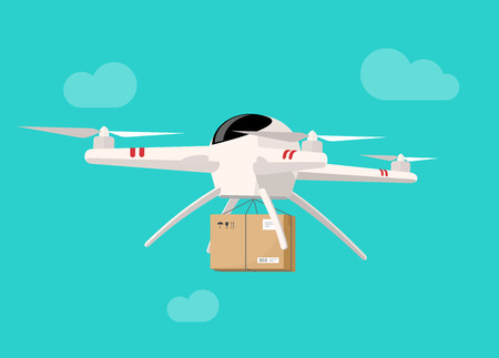 Drone flying in sky with parcel box vector illustration, concept of packaging delivery via drone technology flat cartoon style