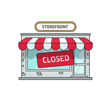 Closed shop building vector illustration, store font view with closed sign, flat cartoon storefront outline line style Stock Illustratie