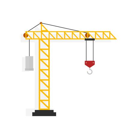 Crane vector illustratie geïsoleerd op een witte achtergrond, een flatscreen cartoon kraan machine Stock Illustratie