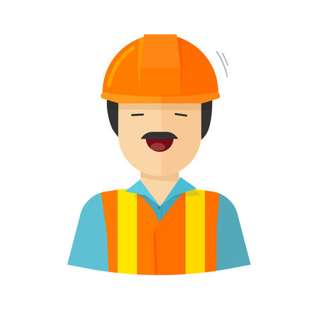 erector: Worker vector illustration isolated on white background, construction builder character in helmet, workman happy face, engineer repairman flat cartoon style Illustration