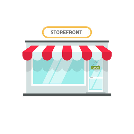 showrooms: Store vector illustration isolated, shop front view building, storefront window facade on white background, flat cartoon style