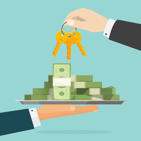 richness: Keys to success vector illustration, flat cartoon person hands giving to each other lots of money and keys, concept of loan, wealth secret, richness