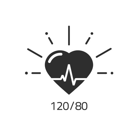Good health vector icon, blood pressure numbers with heart pulse cardiogram, medical pulsometer  element, heart beat label hospital equipment concept flat black and white design isolated