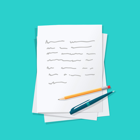paper sheets: Paper sheets pile with abstract written text with pen and pencil top vector illustration, concept or writing letter, message, education, author workplace isolated on color background Illustration