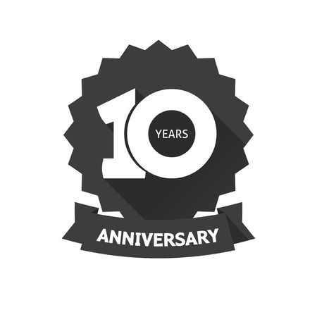 10th: 10 years anniversary sticker vector icon, 10th year birthday  label, black and white stamp isolated on white background