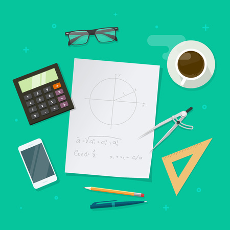 pen and paper: School lesson study concept, education objects on work desk top view, geometry math science elements, flat style design, paper sheets with math formulas and drawing graphs, ruler, pen, pencil vector