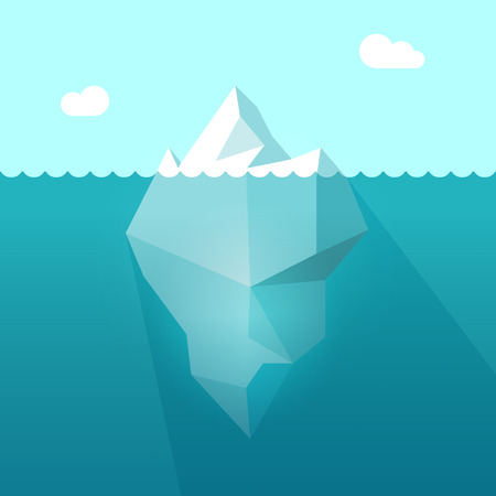 Iceberg in ocean water vector illustration, big iceberg floating in sea waves with huge underwater part and shadow