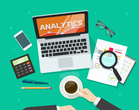 auditing: Financial auditing report concept, financial data research verification, accounting review, auditor work desk, business research, auditing tax process, data analysis, project quality manage vector
