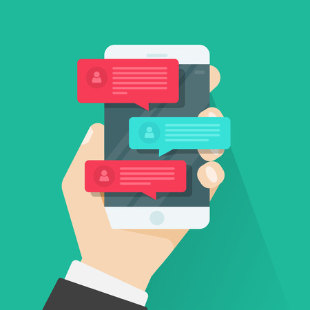 cellphone in hand: Mobile phone chat message notifications vector illustration isolated on color background, hand with smartphone and chatting bubble speeches, concept of online talking, speak, conversation, dialog